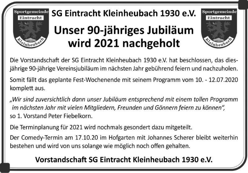2020 05 12 Absage Jubiläum web